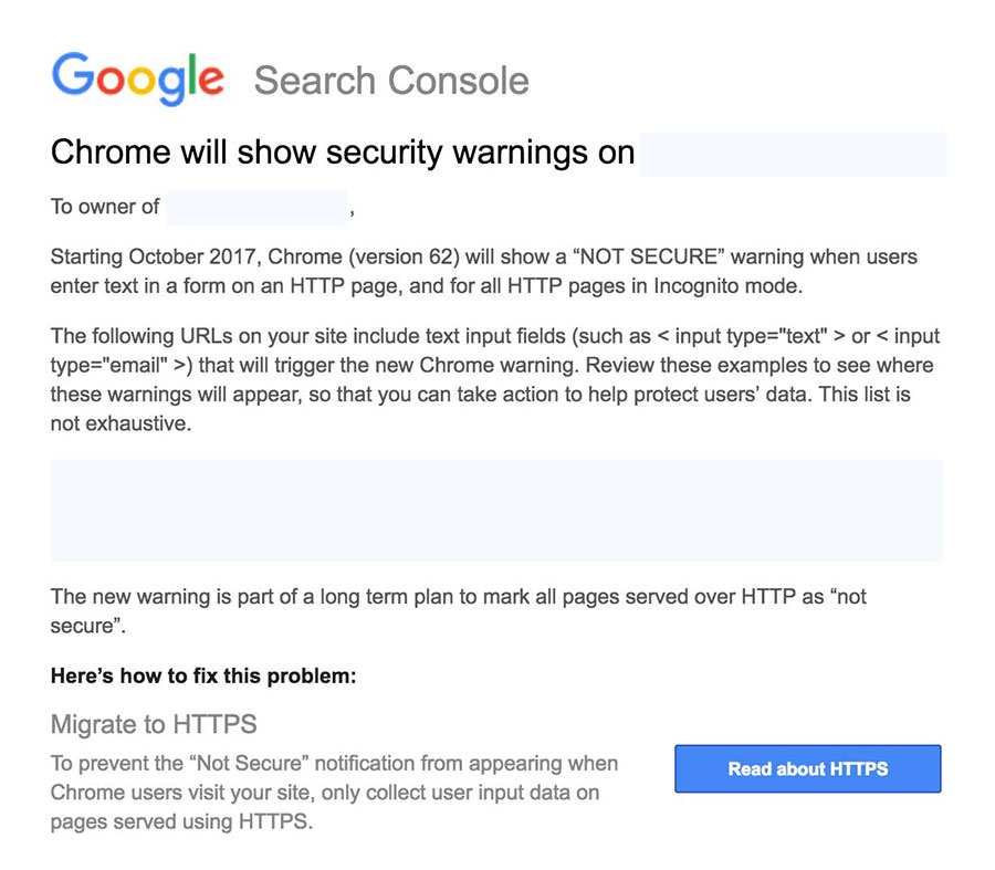 Chrome will show security warnings